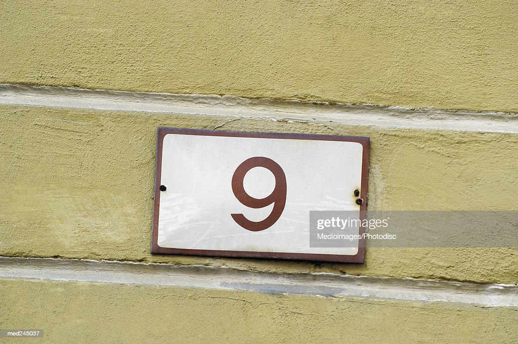Close-up of number 9 : Stock Photo