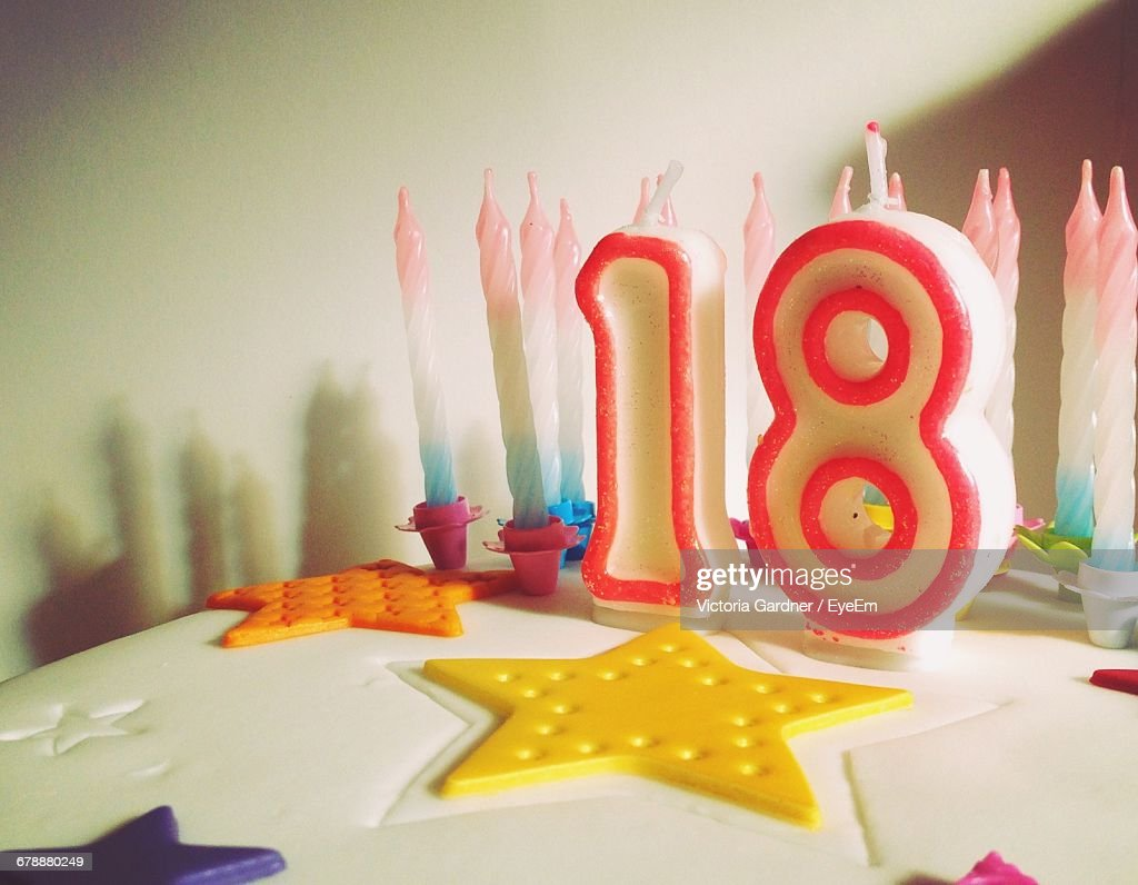 Closeup Of Number Candles On Birthday Cake Stock Photo Getty Images