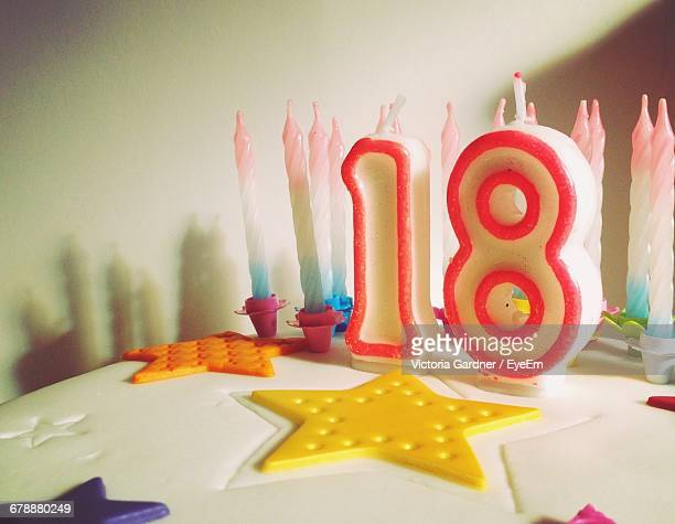 Close-Up Of Number Candles On Birthday Cake