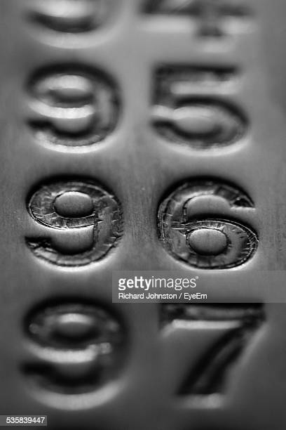Close-Up Of Numbers Engraved On Metal Wall