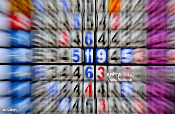 A closeup of numbers on the leaderboard during the second round of the Trophee Hassan II Golf at Golf du Palais Royal on March 27 2015 in Agadir...