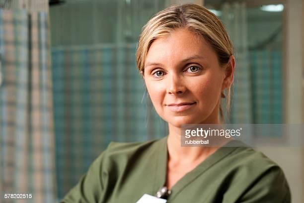 Closeup of nurse smiling