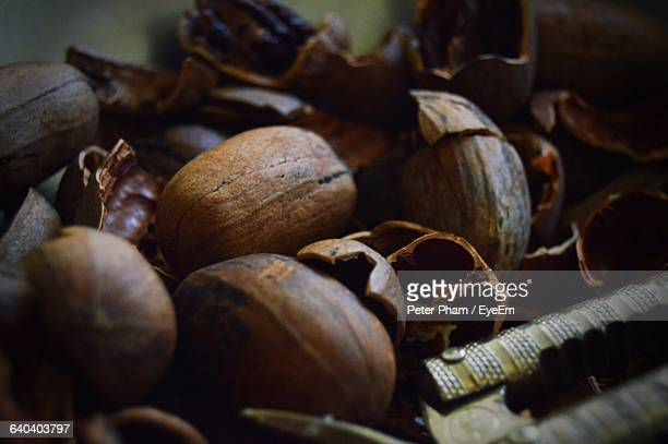 close-up of nut with cracker - nutshell stock photos and pictures