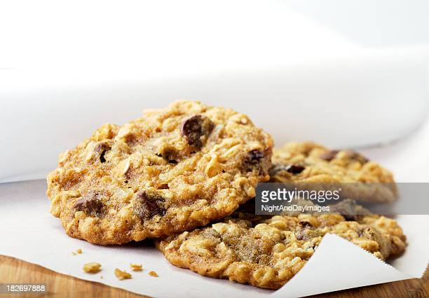 Close-up of oatmeal chocolate chip cookies on paper towel