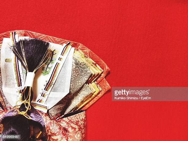 close-up of offerings on red table during doll festival - hinamatsuri stock pictures, royalty-free photos & images