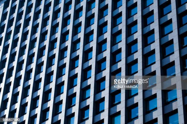 Close-up of office block facade, Japan