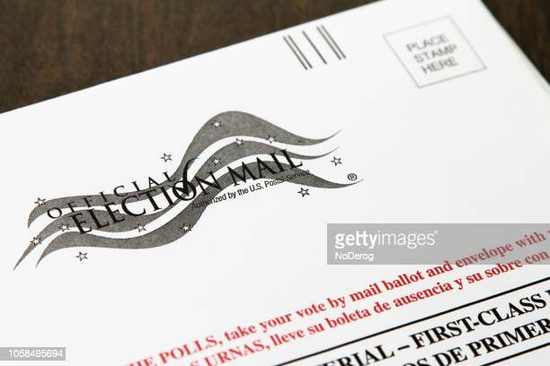 close-up of official vote by mail ballot envelope - voting by mail stock pictures, royalty-free photos & images