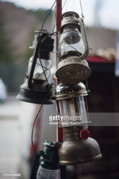 close-up of oil lamps - ガス燈 ストックフォトと画像