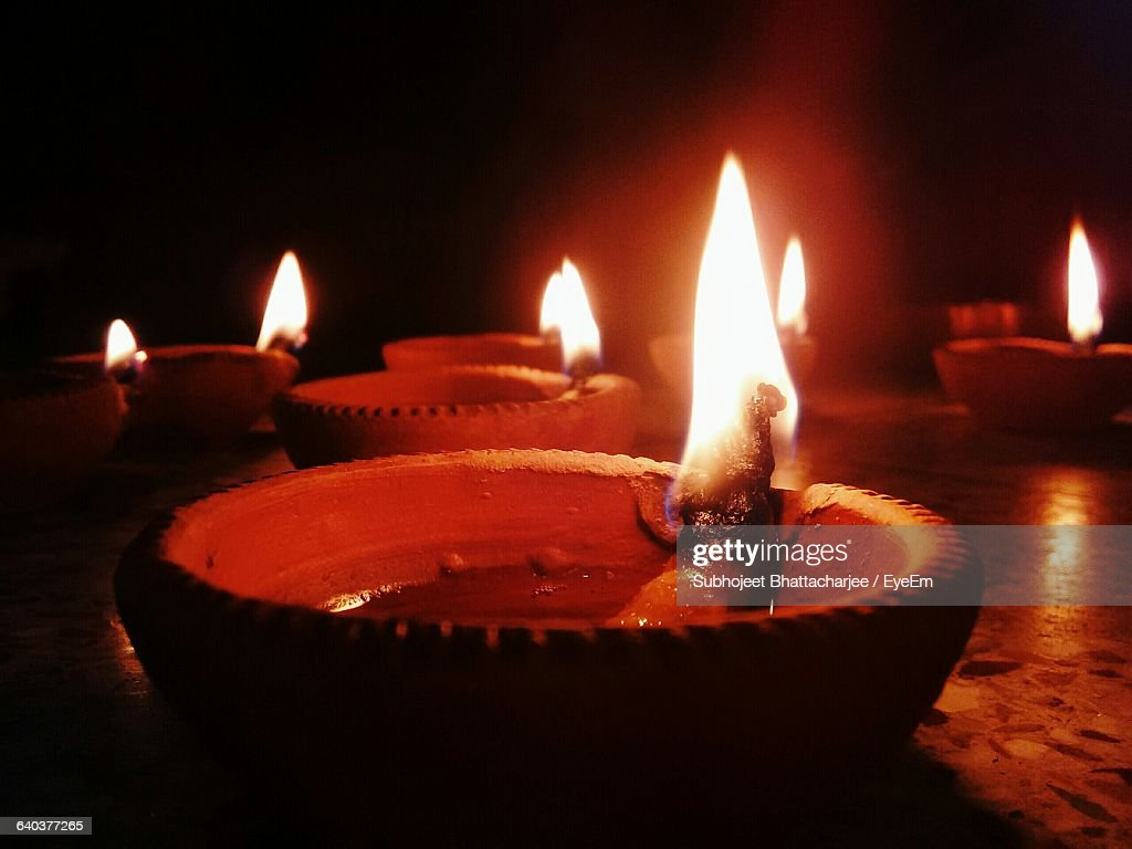 Close-Up Of Oil Lamps : Stock Photo