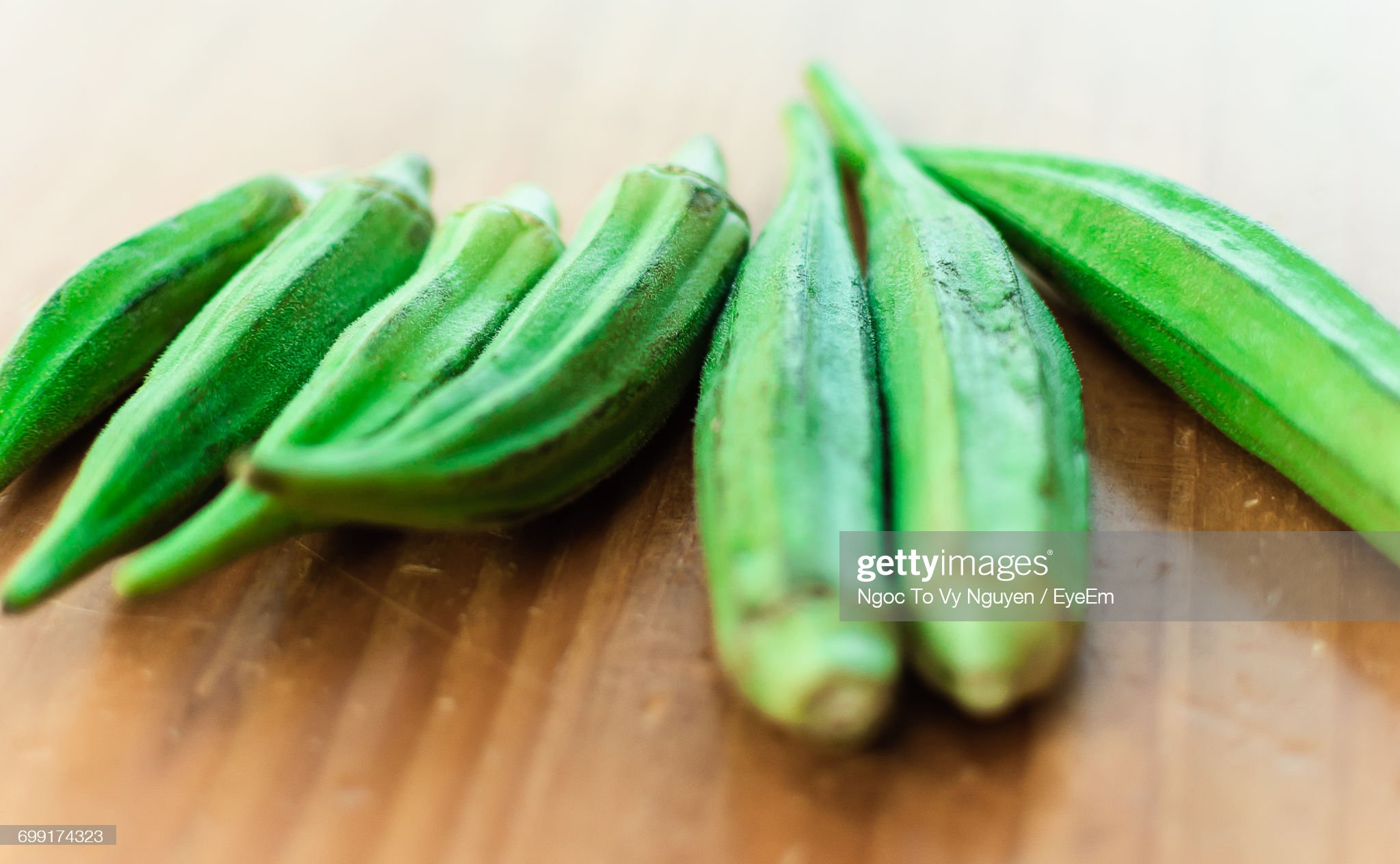 Close-Up Of Okra On Table : Stock Photo
