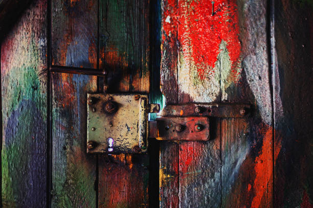 Close-Up Of Old Coloured Wooden Door With Rusty Lock
