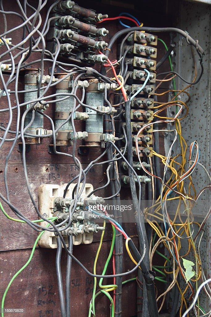 Awe Inspiring Nahaufnahme Des Alten Electric Box Mit Verkabelung Stock Foto Wiring 101 Ouplipimpapsstreekradiomeanderfmnl