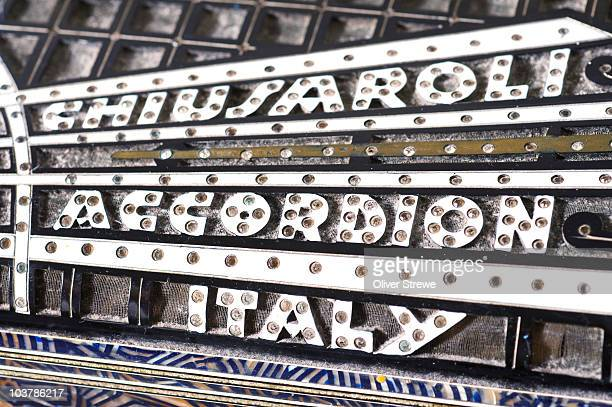 Close-up of old Italian Chiusaroli accordion.