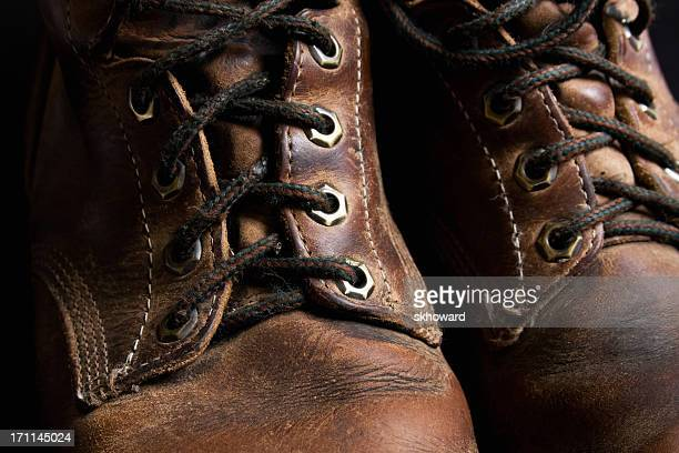 Close-Up of Old Leather Work Boots