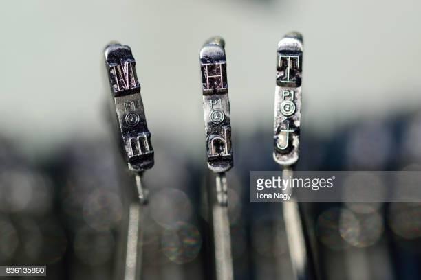 Close-up of old typewriter keys
