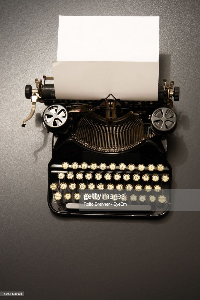 Close-Up Of Old Typewriter On Table : Stock Photo