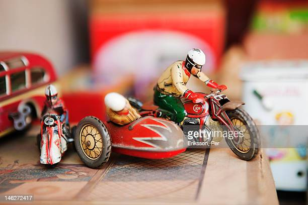 Close-up of old-fashioned motorcycle toy
