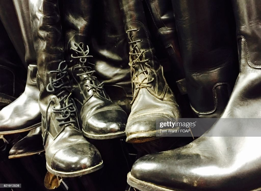 Close-up of old-fashioned riding boots : Stock Photo