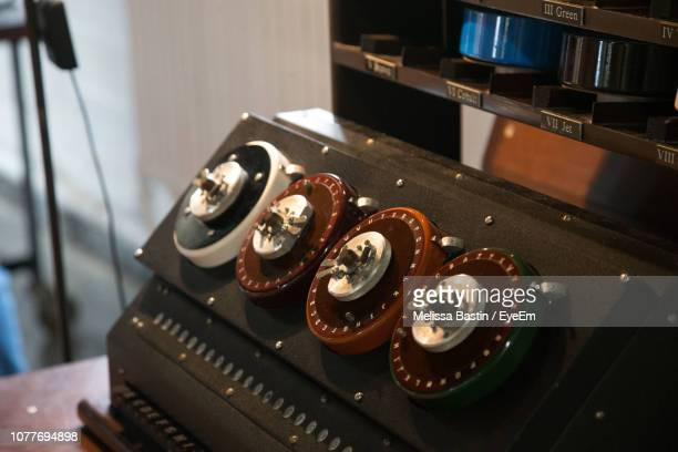 close-up of old-fashioned sound mixer - bletchley park stock pictures, royalty-free photos & images