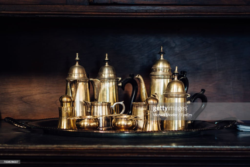 Surprising Closeup Of Oldfashioned Tea Set In Tray On Table Stock Photo Home Interior And Landscaping Ologienasavecom