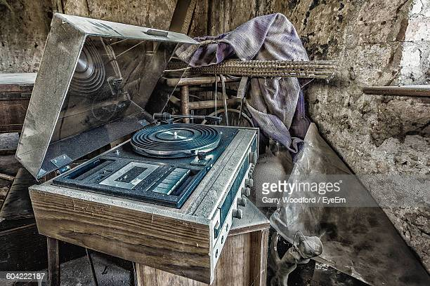 Close-Up Of Old-Fashioned Turntable In Abandoned Building