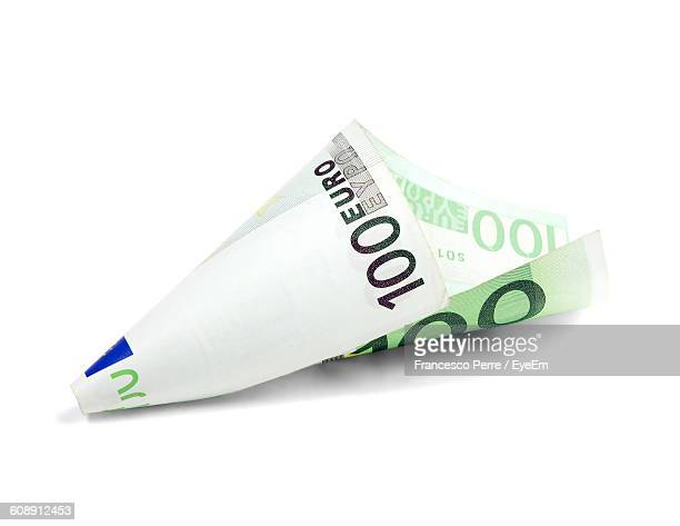 Close-Up Of One Hundred Euro Banknote Against White Background
