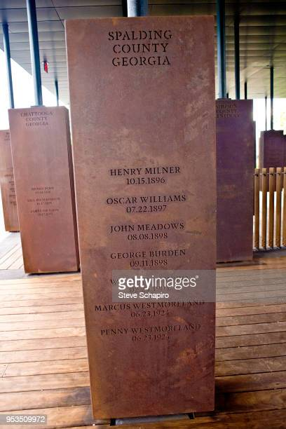 Close-up of one of the structures comprising the memorial at the opening of Bryan Stevenson's EJI National Memorial For Peace and Justice,...