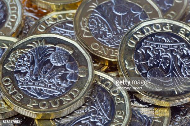 Close-up of one pound coins showing detail clearly.