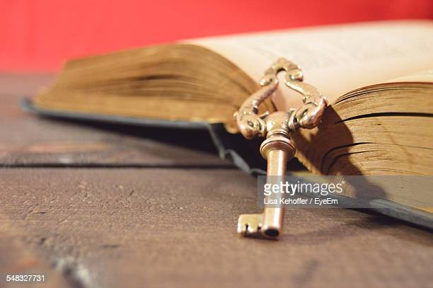 Close-Up Of Open Book With Skeleton Key