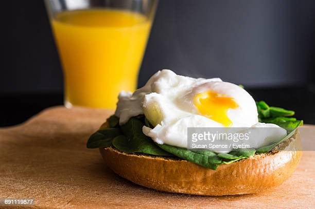 Close-Up Of Open Faced Sandwich On Table