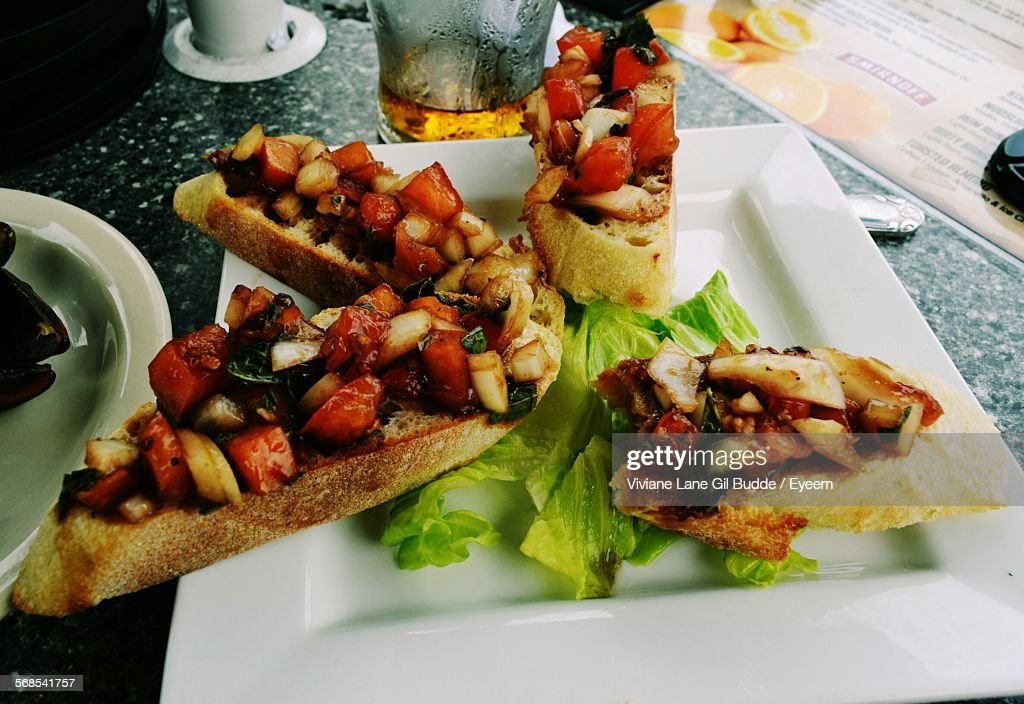 Close-Up Of Open Sandwich On Table : Stock Photo