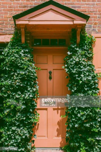 close-up of orange front door framed by ivy on both sides - バージニア州 アレクサンドリア ストックフォトと画像