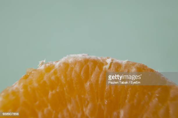 close-up of orange over colored background - paulien tabak stock-fotos und bilder