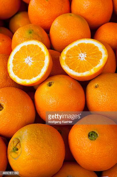 Closeup of oranges at the Pike Place Market in Seattle Washington State USA