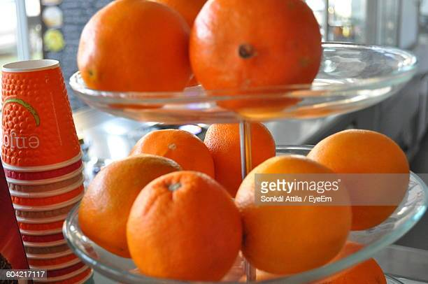 Close-Up Of Oranges On Cakestand