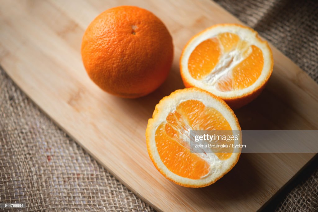 Close-Up Of Oranges On Table : Stock Photo