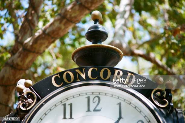 Close-up of ornate clock in a public square in the San Francisco Bay Area, Concord, California, September 8, 2017.