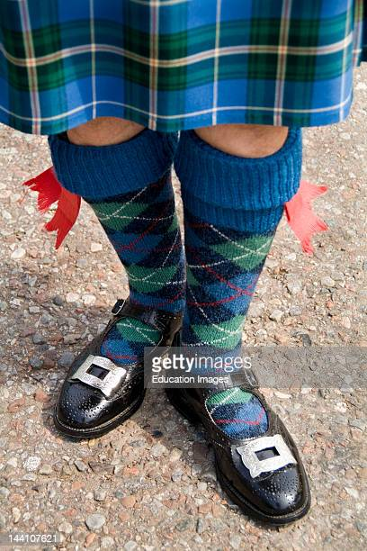 Closeup Of Outfit Of Bag Pipe Player At The Loch Ness Area Near Drumnadrochit, Scotland.
