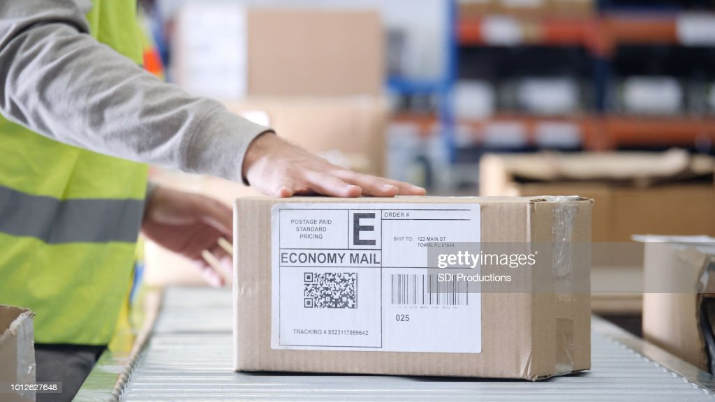 Closeup of package ready for delivery : Stock Photo