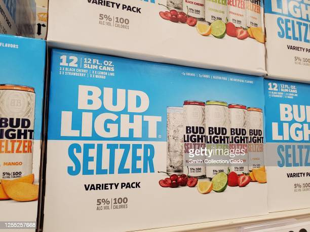 Close-up of packages of Bud Light brand hard seltzer, an alcoholic seltzer water drink, on store shelves in San Ramon, California, July, 2020.