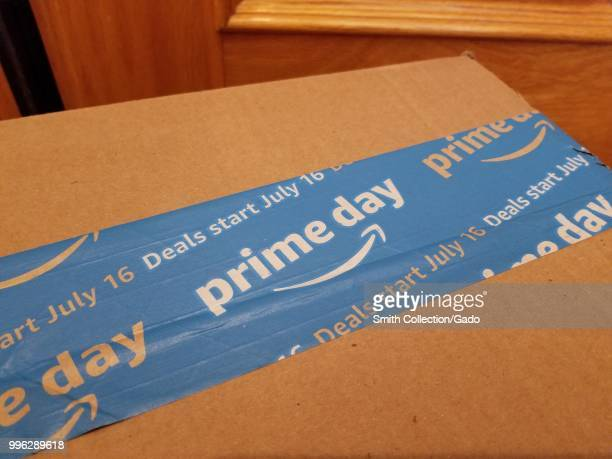 Closeup of packaging advertising Amazon Prime Day 2018 a special promotion from online retailer Amazoncom July 6 2018