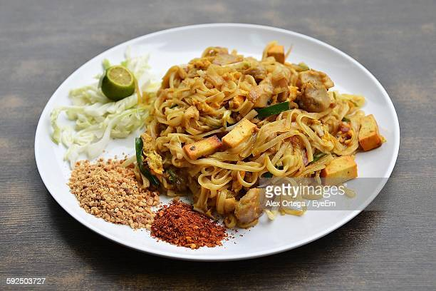 Close-Up Of Pad Thai In Plate On Table