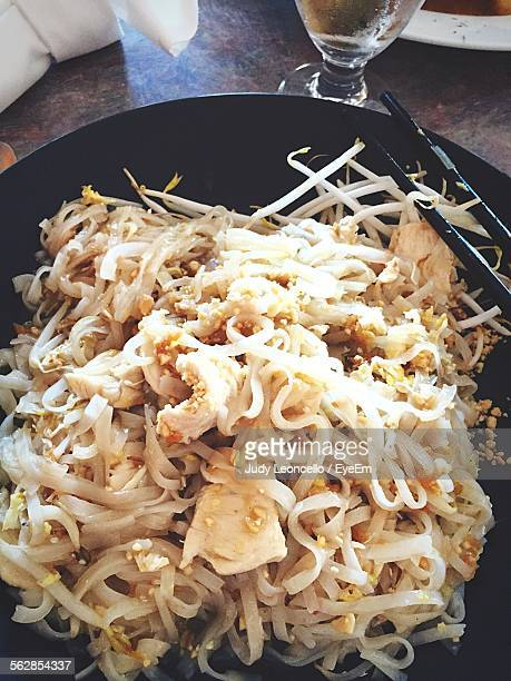 Close-Up Of Pad Thai Served On Plate