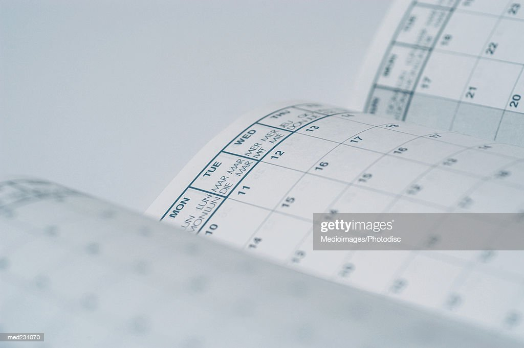 Close-up of pages of a calendar : Stock Photo