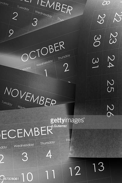 Close-up of pages of a calendar with the last four months
