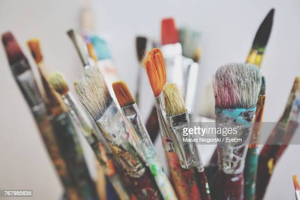 close-up of paintbrushes - paintbrush stock pictures, royalty-free photos & images