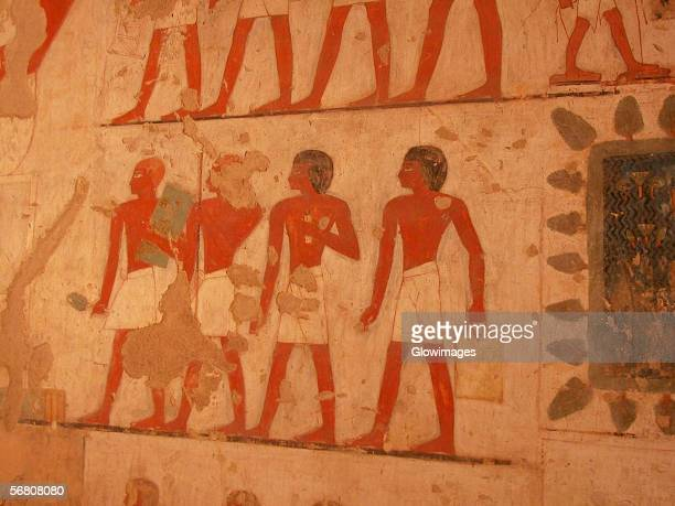 Close-up of paintings on the wall, Egypt