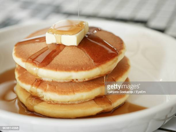 close-up of pancakes in plate - pancake stock pictures, royalty-free photos & images