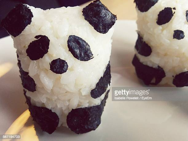 close-up of panda shaped onigiri on plate - nori stock pictures, royalty-free photos & images
