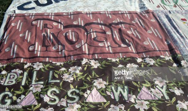 Closeup of panels in the NAMES Project AIDS Memorial Quilt as it is displayed on the National Mall Washington DC October 11 1996 The visible panels...